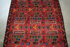 AFGHAN HAND MADE RED WAR JETS, TANKS TREMENDOUS RUG WITH HIGH QUALITY OF WOOL