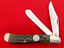 Case XX USA 1985 mint green bone NKCA dogleg trapper G6240 SS knife