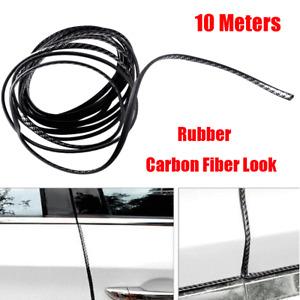 10m Rubber Car Door Edge Moulding Trim Strip Scratch Protector Carbon Fiber Look
