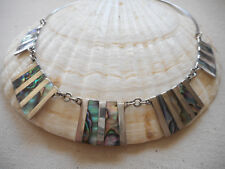 Vintage Sterling Silver Inlaid Abalone Hinged Collar Necklace  881C