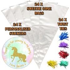 24 Oro Personalizado Unicornio Cumpleaños Hágalo usted mismo hágalo usted mismo Dulces Bolsas de Fiesta de cono