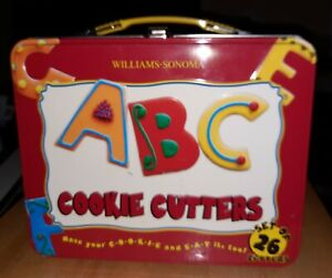 New Williams-Sonoma (26) ABC Alphabet Letters Cookie Cutters With Lunch Box Set