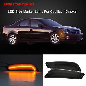 Front Bumper LED Side Marker Light Smoke Lens For 2003-2007 Cadillac CTS CTS V