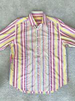 Robert Graham Flip Cuff Button Up Mens Dress Shirt Size XL Neon Striped