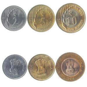 SET OF 3 COINS FROM INDIA. 2, 5, 10 RUPEES. LATEST INDIAN MONEY. 2019-2020