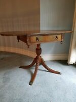Antique Imperial Mahogany Drop Leaf Table with Drawer, Four Leg Pedestal