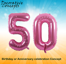 "Giant 50th Birthday Party 40"" Foil Balloon Helium Air Decoration Age 50 PINK"