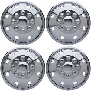 """4 Pc Set 16"""" 8 Lug RV Dual CHROME Simulators Skin Hub Cap Steel Wheel Rim Covers"""