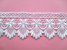 """~ Beautiful White Flower GUIPURE/VENISE Lace  2"""" wide"""