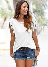 Boho Women Tassels Short Sleeve T-Shirt Ladies Summer Casual Tops Blouse 6-14