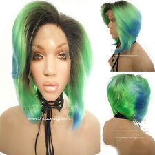 NEW Fantasy rainbow wig short lace front wig bob lace wig bob cut nicki minaj