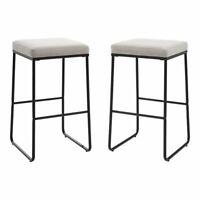 "Crosley Furniture Beckett 30"" 2-piece Metal Bar Stool Set in Gray/Matte Black"