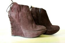 Brown Suede UK 7 Boots With Wedge by Valerie