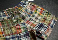"""Polo Ralph Lauren patch work plaid multi color shorts 6"""" size XL"""