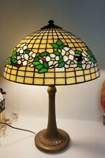 Antique Signed Handel Table Lamp w Leaded Glass Shade - Acorn Pull Chains