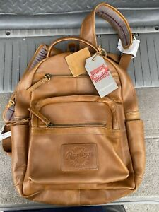 Brand New Rawlings Rugged Medium Leather Backpack Tan- Amazing Condition