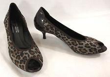 Donald Pliner Heels 6.5 Dorba Leopard Brown Synthetic Patent Croc Peep Toe Italy