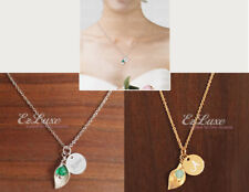 PERSONALIZED ENGRAVED Disc Petal Birthstone Bead Necklace flower leaf lily wrap