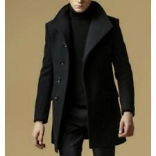 Winter Mens Long Trench Woolen Slim Peacoat Coats Fleece Jacket British Outwear