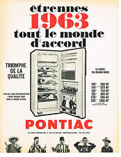 PUBLICITE ADVERTISING   1962   PONTIAC  réfrigérateur