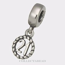 Authentic Pandora Sterling Silver 21st Birthday Dangle Bead 790496