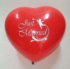 10  x Herzballons Just Married ca. 30 cm Ø,  Luftballon, Hochzeit Dekoration