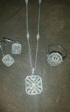 Diamanten Set 4-teilig  ,Kette. -Anhänger,Ring,Ohrringe -925 Silber Top Angebot