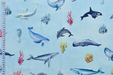Ocean Life Fabric - Dolphins & Whales. 100% Cotton, Cushions, Quilting & Crafts