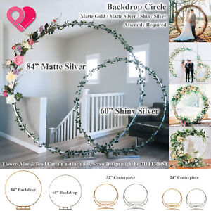 "Round Circle Wedding Arch Backdrop Gold Silver Wreath Hoop Centerpiece 24""-84"""