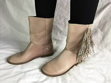 Women's FELMINI FRINGE Tan LEATHER BOOTS size 39 (8 - 8.5 ?) Fashion Pull-On V7