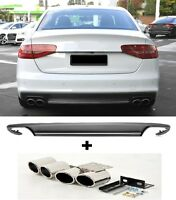 Für Audi A4 B8 8K RS4 12-15 S4 Look Heckschürze Spoiler Diffusor + Endrohre