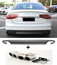 Für Audi A4 B8 8K RS4 12-15 S4 Look Heckschürze Spoiler Diffusor + Endrohre ~83