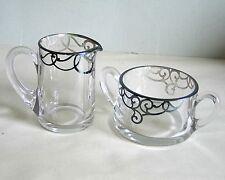 Glass Creamer Sugar Bowl Silver Overlay Art Nouveau Design sterling Free Sh
