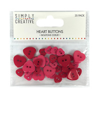 Simply Creative Plastic Heart Buttons - Shades of Red - 35pcs