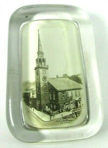 Real Photo Glass Paperweight OLD SOUTH CHURCH BOSTON Trolley circa 1910