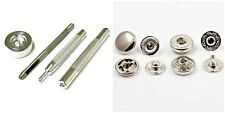 15mm S Spring Press Studs Fixing Tool Kit & 10 Silver Press Studs - UK Seller