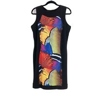 Eva Varro Size XL Signature Stretch Tank Sheath Dress Black Sleeveless Colorful