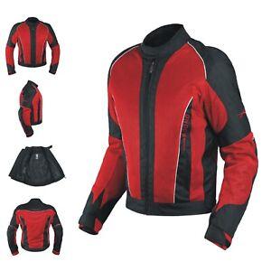 Ladies Mesh Water liner Summer Jacket women Motorcycle Motorbike Red XL