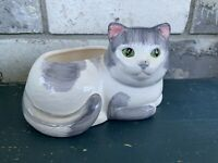 Vintage Ceramic White and Gray Cat Planter with Green Eyes