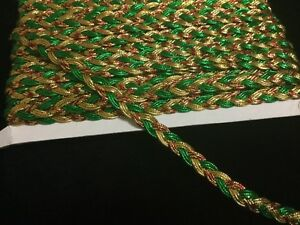 1M Red Green Gold Plat Braid METALLIC LUREX Christmas 10mm Ribbon Trimming lace