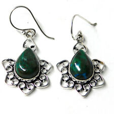 Natural Chrysocolla 925 Sterling Silver Plated Handmade Jewelry Earring 8 Gm-I32