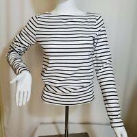 Gap Medium Navy White Cotton Knit Stripe Top Boat Neck Long Sleeve
