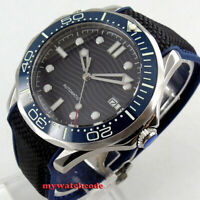 41mm bliger black dial luminous sapphire glass date automatic mens watch B264