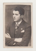 Affectionate Handsome Young Man Cute Face Attractive Guy Gay Int Old Photo 1930s
