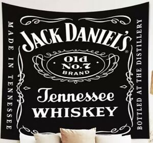 """NEW 38"""" x 30"""" Jack Daniels Old No. 7 Whiskey Black & White Tapestry Wall Decor"""