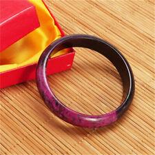 Black & Purple Plum Peach Blossom Flower Natural Xiuyan Jade Bangle Bracelet