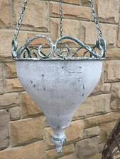 Vintage style Ornate Weathered Metal hanging basket Pot Urn Garden  with chain