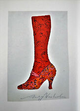 """Andy Warhol, """"SHOE and LEG"""" Hand-Signed Print in Blue Pen w/Gallery COA"""