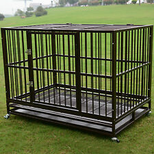 "3XL 48"" Dog Crate Kennel Heavy Duty Pet Cage Playpen w/ Metal Tray Exercise Pan"