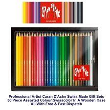 Caran Dache Swisscolor Water Soluble Colour Pencil Artist Set of 30 Wooden Case